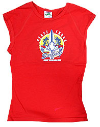 Peace Frogs Red Surfing Muscle T-Shirt