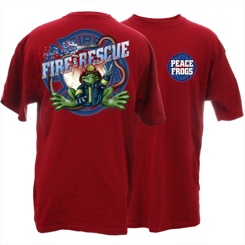 Peace Frogs Firefighter Short Sleeve Kids T-Shirt