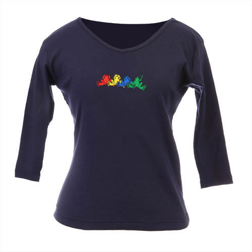 Peace Frogs Junior V-Neck Navy No Evil Long Sleeve T-Shirt