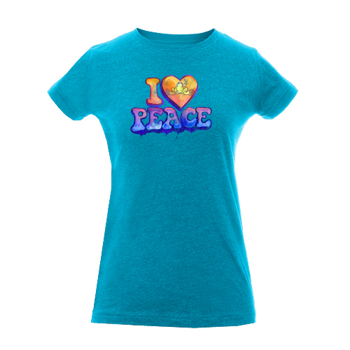 Peace Frogs Junior I Heart Peace Vintage Heathered Short Sleeve T-Shirt