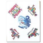 Peace Frogs Surf Assortment Tattoo