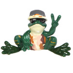 Peace Frogs Army Figurine