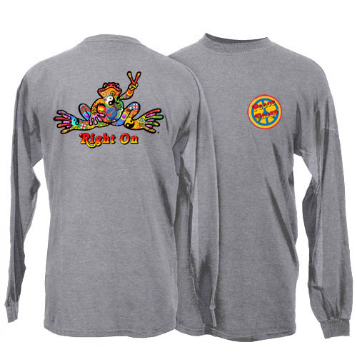 Peace Frogs Sport Grey Button Adult Long Sleeve T-Shirt