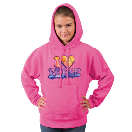 Peace Frogs I Heart Peace Printed Youth Hooded Pullover Sweatshirt