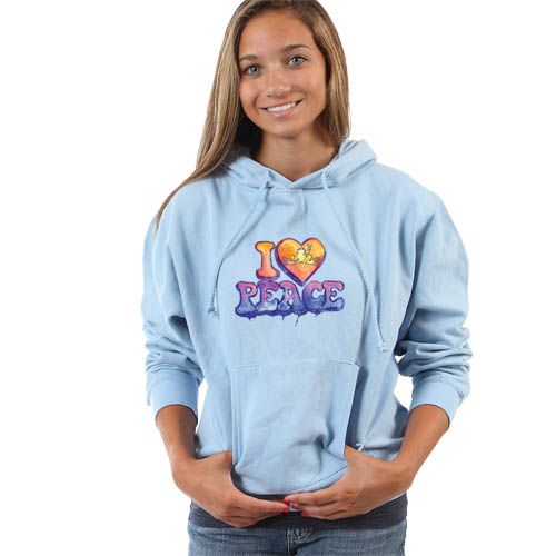 Peace Frogs I Heart Peace Junior Hooded Pullover Sweatshirt