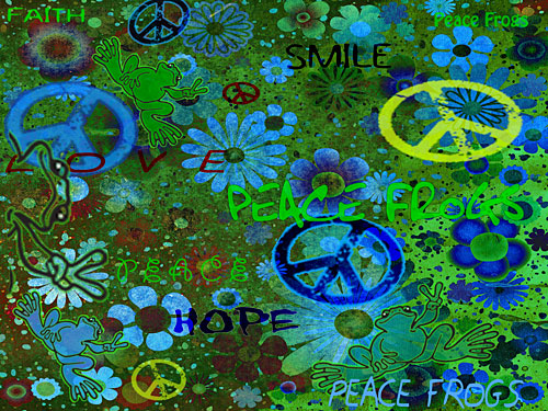 """Easy Being Green"" - Peace Frogs Free Wallpaper Download"