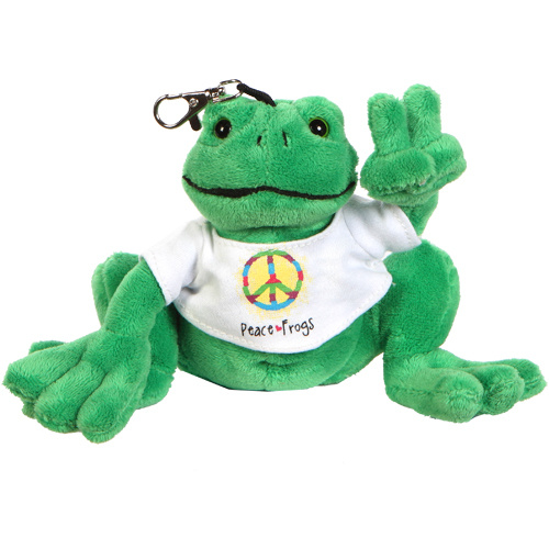 Peace Frogs Plush Keychain