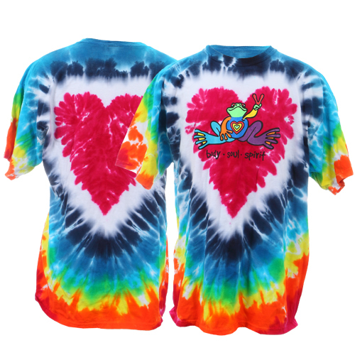 Peace Frogs Adult Heart Tie Dye Short Sleeve T-Shirt