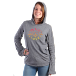 Peace Frogs Ladies Peace, Love Long Sleeve Heathered Hooded T-Shirt