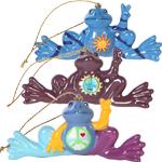 Peace Frogs Believe, Imagine, Celestial 3 Piece Ornament Set