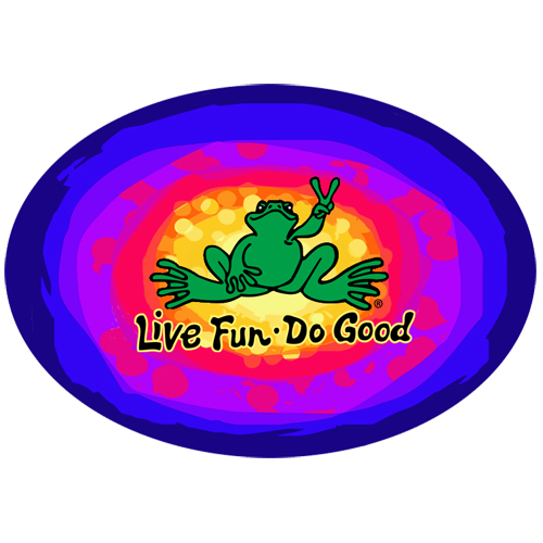 Peace Frogs Live Fun, Do Good Sticker