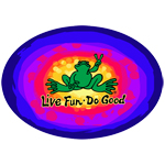 Peace Frogs Live Fun, Do Good Sticker