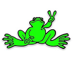 Peace Frogs Small Neon Frog Sticker