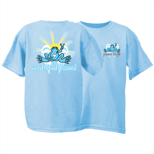 Peace Frogs Youth Saved, Loved, Blessed Frog Short Sleeve Kids T-Shirt