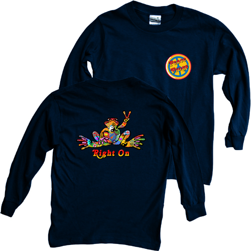 Peace Frogs Button Long Sleeve Kids T-Shirt