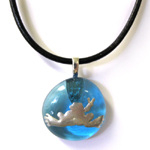 Peace Frogs Glass Metal Frog Black Cord Necklace