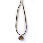 Peace Frogs Glass Metal Frog Dark Brown Cord Necklace