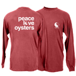 Peace Love Oysters Long Sleeve Garment Dye T-Shirt