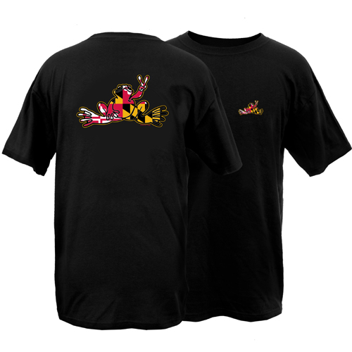 Peace Frogs Maryland Flag Frog Short Sleeve T-Shirt
