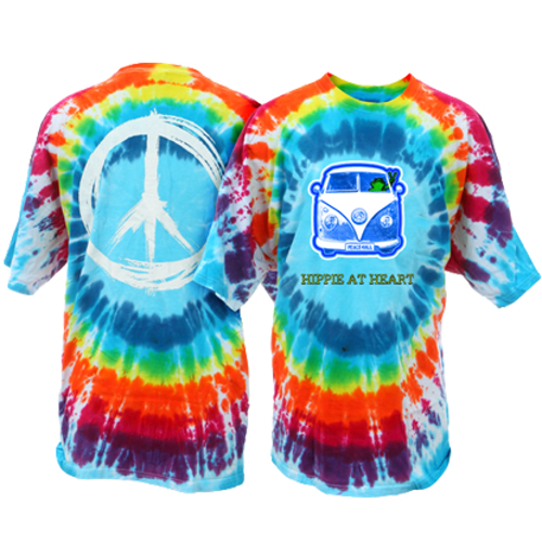 Peace Frogs Hippie at Heart Tie Dye Short Sleeve T-Shirt