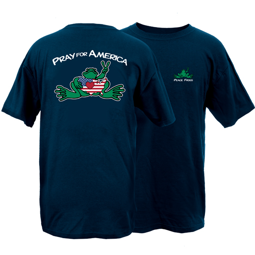 Peace Frogs Pray For America Frog Short Sleeve T-Shirt
