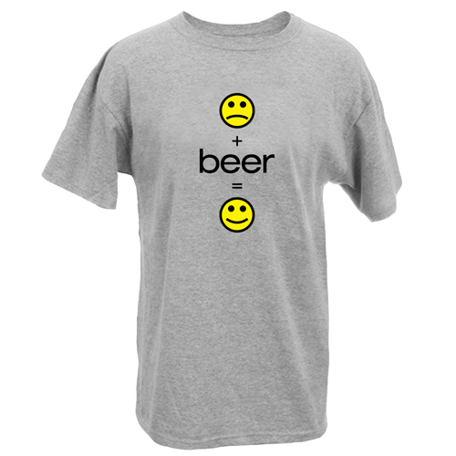 Beyond The Pond Adult Smiley Beer Short Sleeve T-Shirt