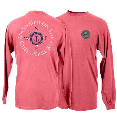 Chesapeake Tides Adult Anchored at the Bay Garment Dye Long Sleeve T-Shirt