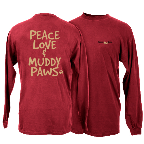Muddy Paws Peace Dogs Long Sleeve T-Shirt