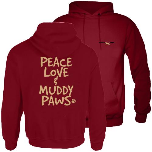Muddy Paws Peace Dog Hood Pullover Sweatshirt