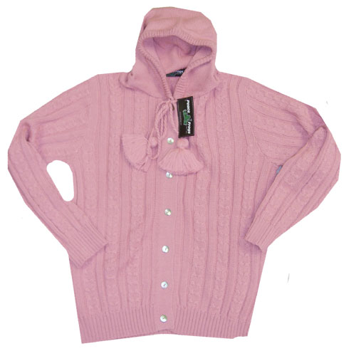 Peace Frogs Pink Full Button Hood Wool Sweater, Sweaters: Peace Frogs