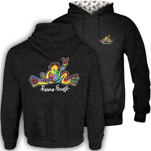 Peace Frogs Retro Frog Hood Lined Adult Pullover Sweatshirt