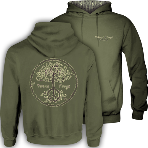 Peace Frogs Wild Tree Hood Lined Adult Pullover Sweatshirt