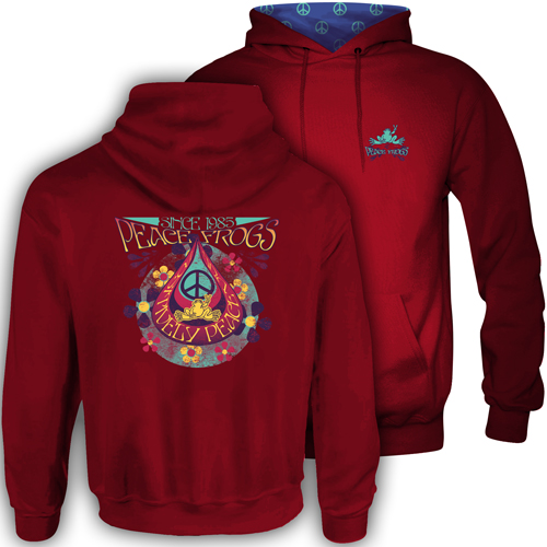 Peace Frogs Teardrop Hood Lined Adult Pullover Sweatshirt