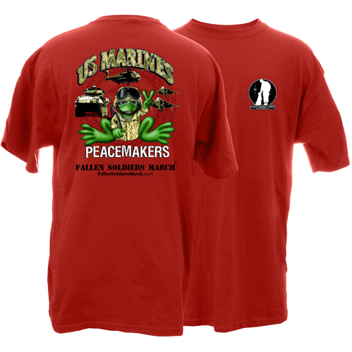 Fallen Soldiers March US Marine Frog Adult Short Sleeve T-Shirt
