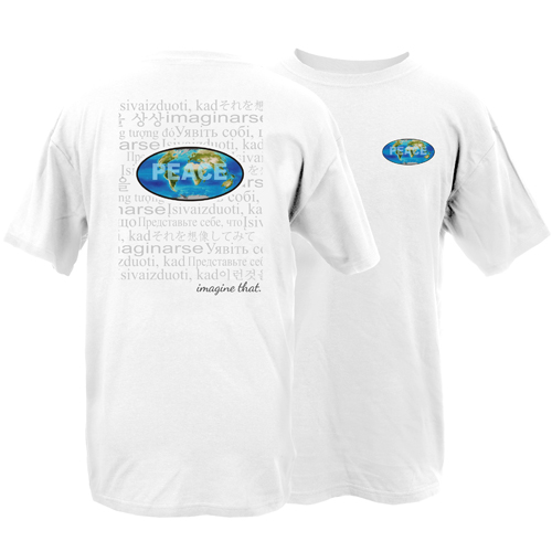 Beyond The Pond Adult World Peace Imagine That Collage Short Sleeve T-Shirt