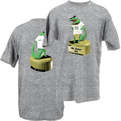 Beyond The Pond Adult Ally Gator the Procrastinator Short Sleeve T-Shirt