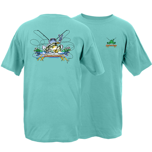 Peace Frogs Adult Fishing Frog Garment Dye Short Sleeve T-Shirt