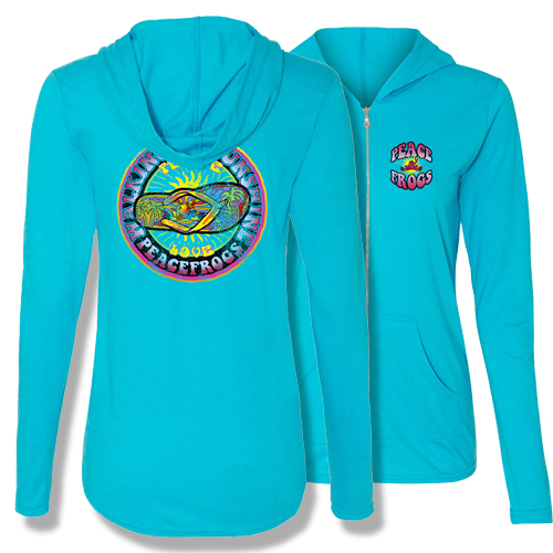 Peace Frogs Walking on Sunshine Adult Ladies Full Zipper Hoodie T-Shirt
