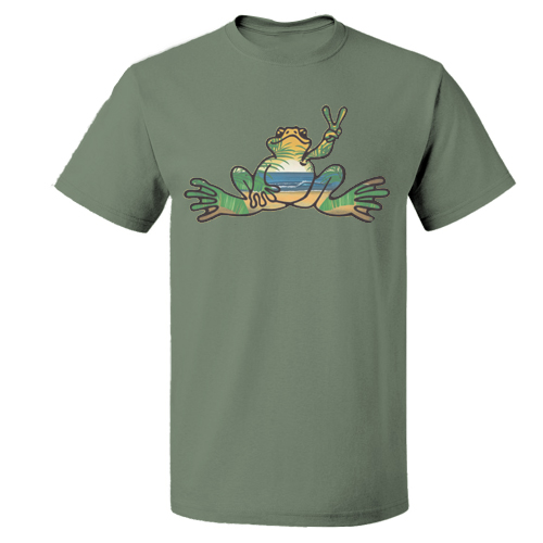 Peace Frogs Adult Sunset Fill Puerto Rico Frog Short Sleeve T-Shirt