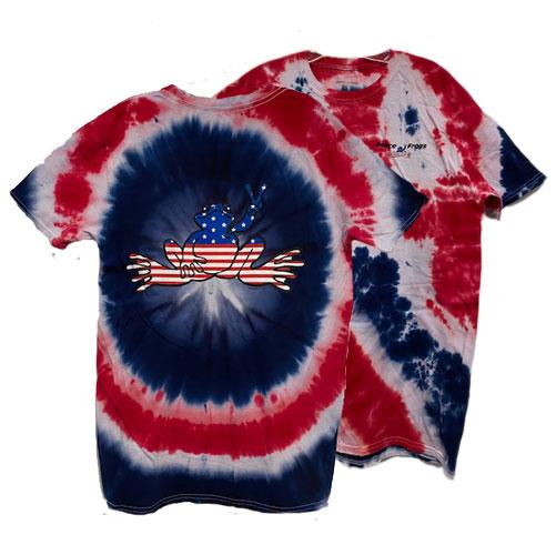 Peace Frogs American Flag Frog Tie Dye Short Sleeve T-Shirt