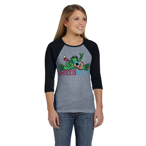 Peace Frogs Ladies American Beauty 3/4 Sleeve Raglan T-Shirt