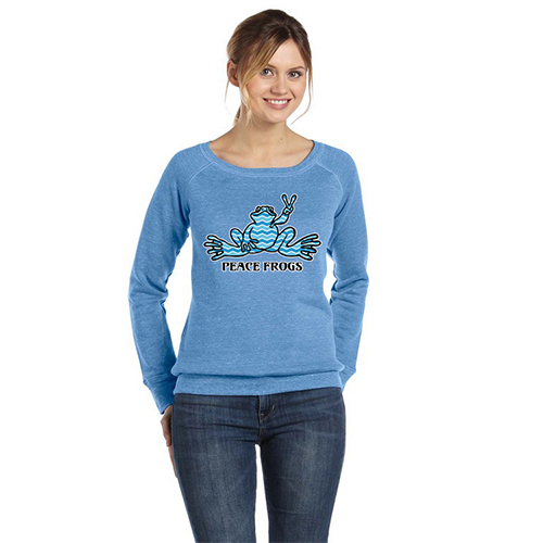 Peace Frogs Ladies Chevron Frog Wide Neck Sweatshirt