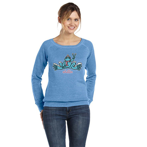 Peace Frogs Ladies Chillin Frog Wide Neck Sweatshirt