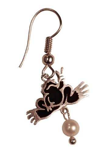 Peace Frogs Color Wire Earring W/Pearl