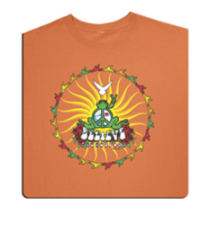 Peace Frogs Adult Believe Frog Organic Garment Dye Short Sleeve T-Shirt