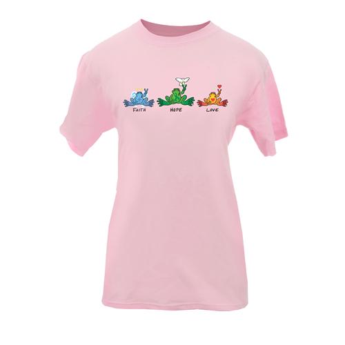 Peace Frogs Adult Faith Hope Love Short Sleeve T-Shirt