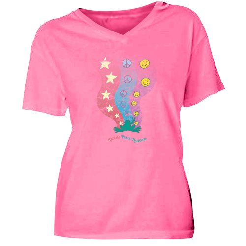 Peace Frogs Ladies Dream Peace V-Neck Garment Dye Short Sleeve T-Shirt
