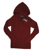 Peace Frogs Junior Burgundy Hood Wool Sweater