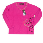 Peace Frogs Kids Pink Flower Wool Sweater