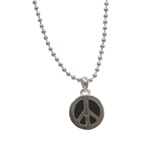 """Peace Frogs Small Color Peace Sign On 18"""" Chain"""